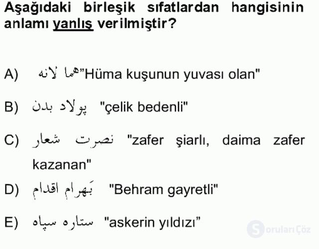 Osmanlı Türkçesi Grameri II Bahar Final 13. Soru
