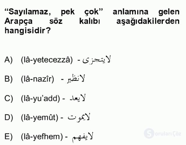 Osmanlı Türkçesi Grameri II Bahar Final 16. Soru