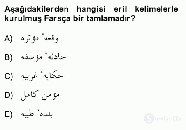 Osmanlı Türkçesi Grameri II Bahar Final 5. Soru