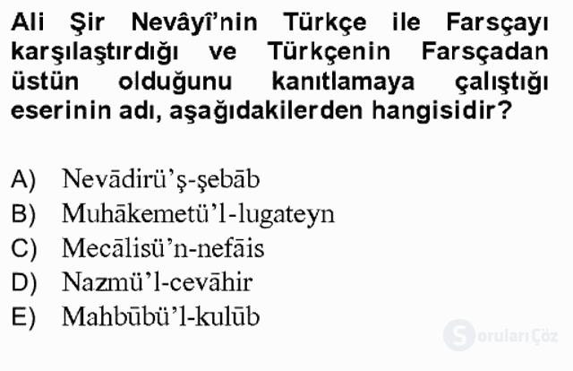 XIV-XV. Yüzyıllar Türk Dili Bahar Final 10. Soru