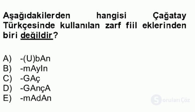XIV-XV. Yüzyıllar Türk Dili Bahar Final 13. Soru
