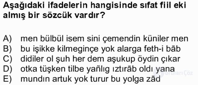XIV-XV. Yüzyıllar Türk Dili Bahar Final 14. Soru