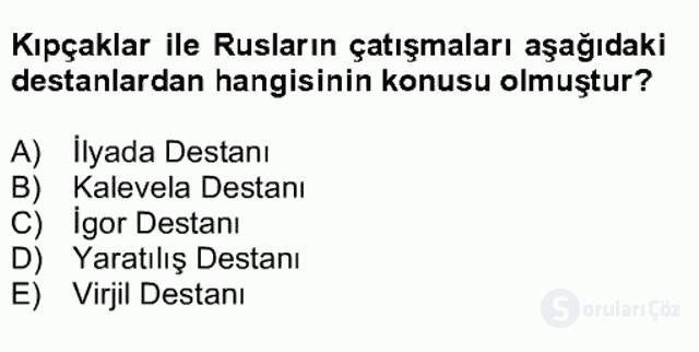 XIV-XV. Yüzyıllar Türk Dili Bahar Final 15. Soru