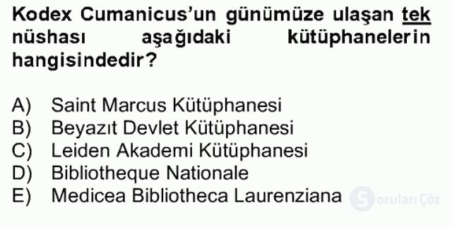 XIV-XV. Yüzyıllar Türk Dili Bahar Final 16. Soru