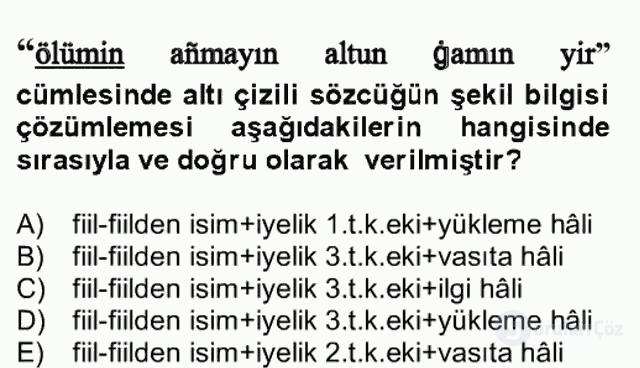 XIV-XV. Yüzyıllar Türk Dili Bahar Final 19. Soru
