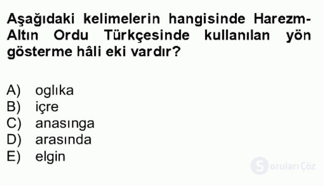 XIV-XV. Yüzyıllar Türk Dili Bahar Final 2. Soru