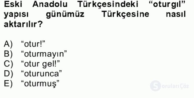XIV-XV. Yüzyıllar Türk Dili Bahar Final 5. Soru