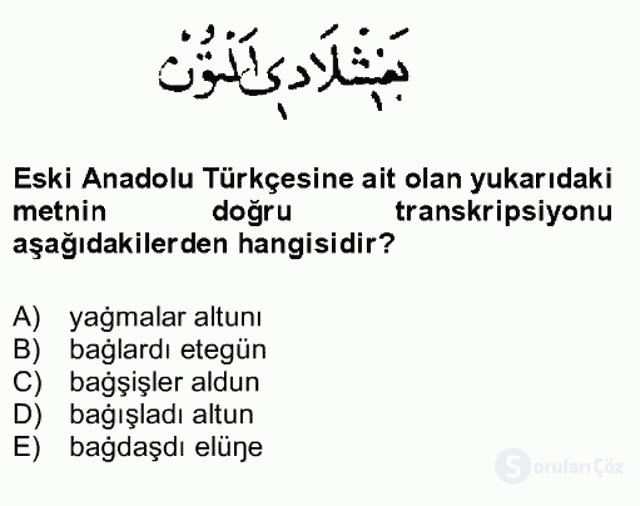 XIV-XV. Yüzyıllar Türk Dili Bahar Final 6. Soru