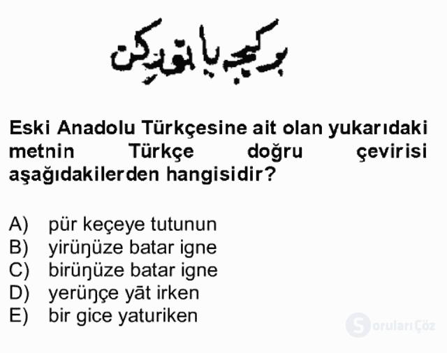 XIV-XV. Yüzyıllar Türk Dili Bahar Final 7. Soru