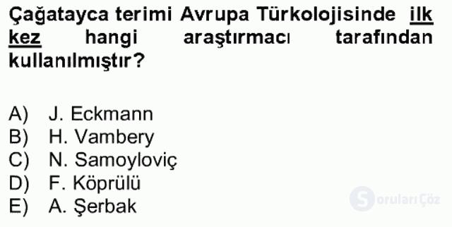 XIV-XV. Yüzyıllar Türk Dili Bahar Final 8. Soru