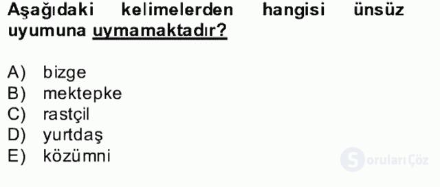 Çağdaş Türk Yazı Dilleri II Bahar Final 1. Soru