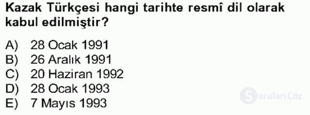 Çağdaş Türk Yazı Dilleri II Bahar Final 11. Soru