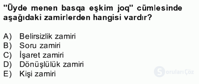 Çağdaş Türk Yazı Dilleri II Bahar Final 12. Soru