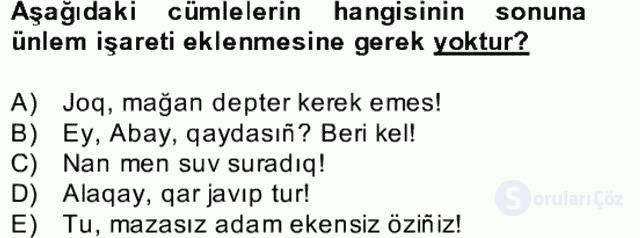 Çağdaş Türk Yazı Dilleri II Bahar Final 13. Soru