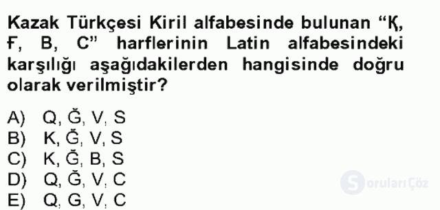 Çağdaş Türk Yazı Dilleri II Bahar Final 15. Soru