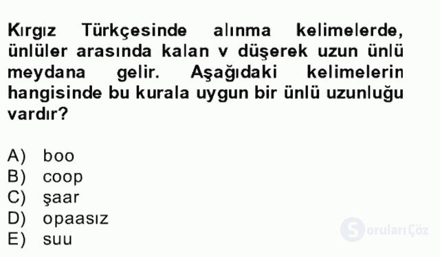 Çağdaş Türk Yazı Dilleri II Bahar Final 21. Soru