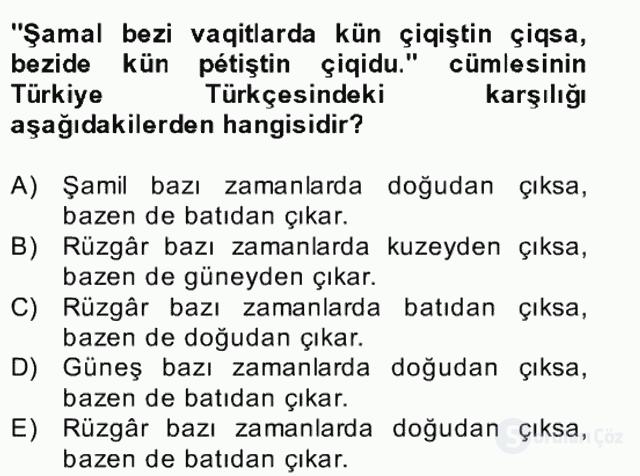 Çağdaş Türk Yazı Dilleri II Bahar Final 3. Soru