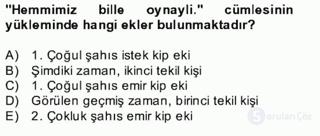 Çağdaş Türk Yazı Dilleri II Bahar Final 4. Soru