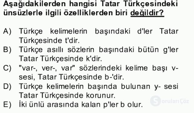 Çağdaş Türk Yazı Dilleri II Bahar Final 5. Soru