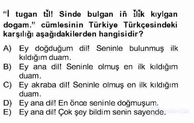 Çağdaş Türk Yazı Dilleri II Bahar Final 7. Soru