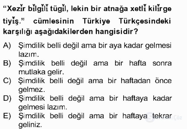 Çağdaş Türk Yazı Dilleri II Bahar Final 8. Soru