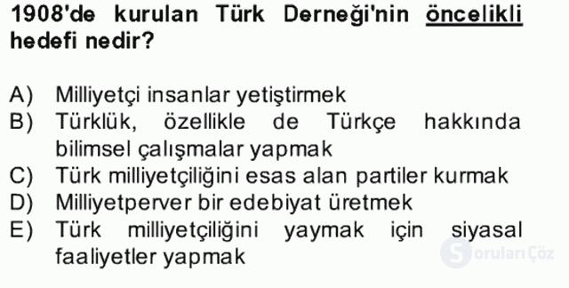 II. Meşrutiyet Dönemi Türk Edebiyatı Bahar Final 11. Soru