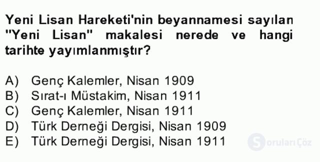 II. Meşrutiyet Dönemi Türk Edebiyatı Bahar Final 12. Soru