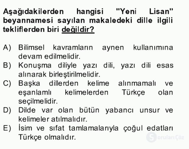 II. Meşrutiyet Dönemi Türk Edebiyatı Bahar Final 14. Soru