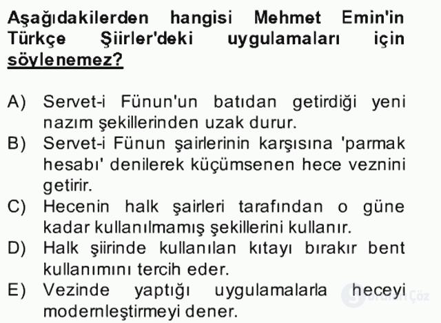 II. Meşrutiyet Dönemi Türk Edebiyatı Bahar Final 16. Soru