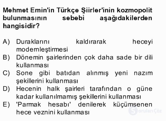 II. Meşrutiyet Dönemi Türk Edebiyatı Bahar Final 17. Soru