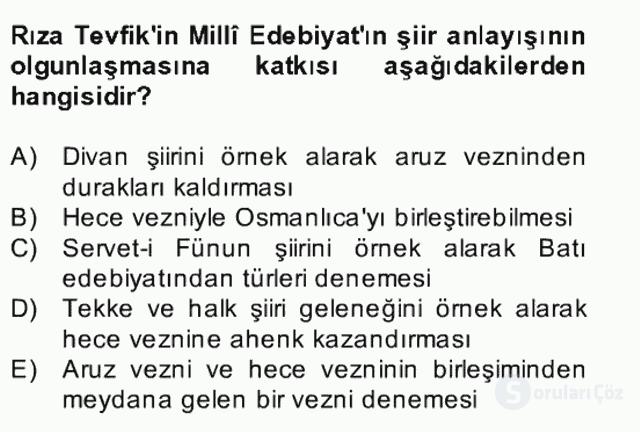 II. Meşrutiyet Dönemi Türk Edebiyatı Bahar Final 18. Soru