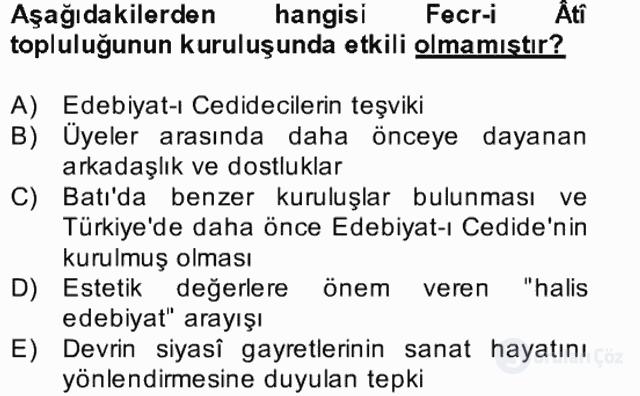 II. Meşrutiyet Dönemi Türk Edebiyatı Bahar Final 2. Soru