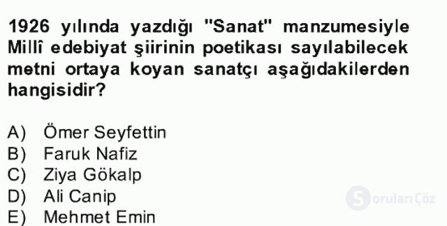 II. Meşrutiyet Dönemi Türk Edebiyatı Bahar Final 20. Soru
