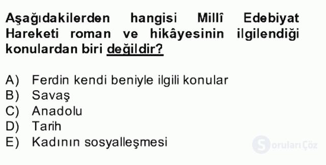 II. Meşrutiyet Dönemi Türk Edebiyatı Bahar Final 23. Soru