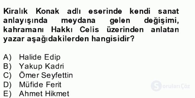 II. Meşrutiyet Dönemi Türk Edebiyatı Bahar Final 24. Soru