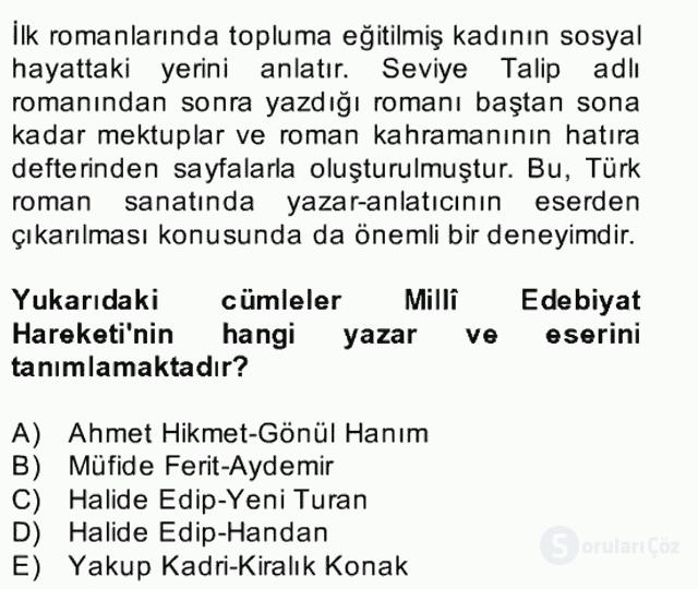 II. Meşrutiyet Dönemi Türk Edebiyatı Bahar Final 25. Soru