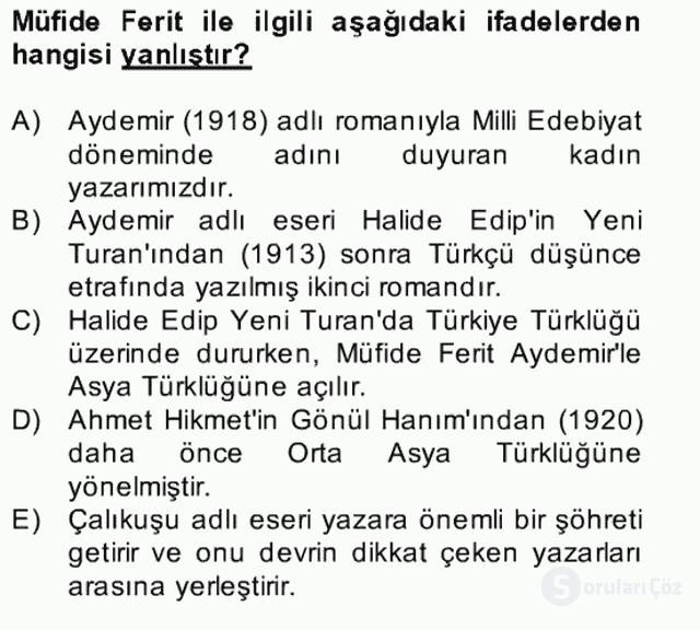 II. Meşrutiyet Dönemi Türk Edebiyatı Bahar Final 26. Soru