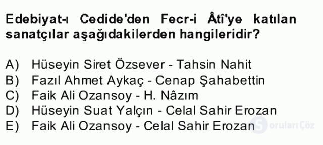 II. Meşrutiyet Dönemi Türk Edebiyatı Bahar Final 3. Soru
