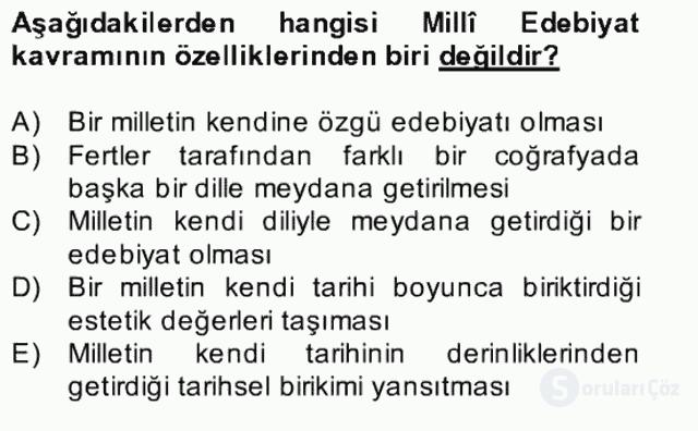 II. Meşrutiyet Dönemi Türk Edebiyatı Bahar Final 5. Soru