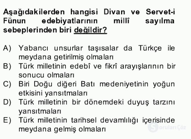II. Meşrutiyet Dönemi Türk Edebiyatı Bahar Final 6. Soru