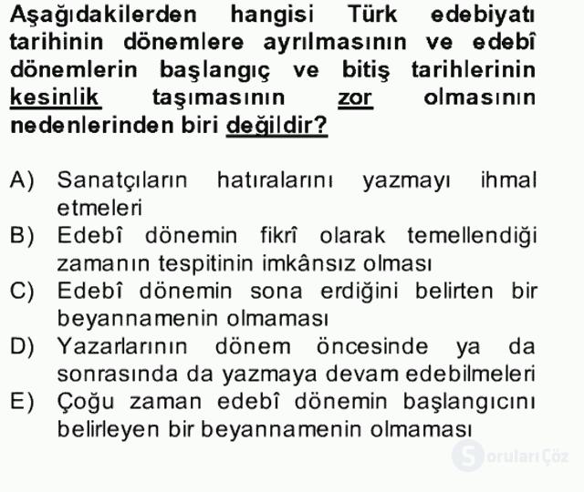 II. Meşrutiyet Dönemi Türk Edebiyatı Bahar Final 8. Soru