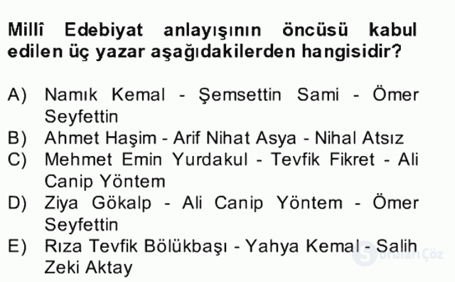 II. Meşrutiyet Dönemi Türk Edebiyatı Bahar Final 9. Soru