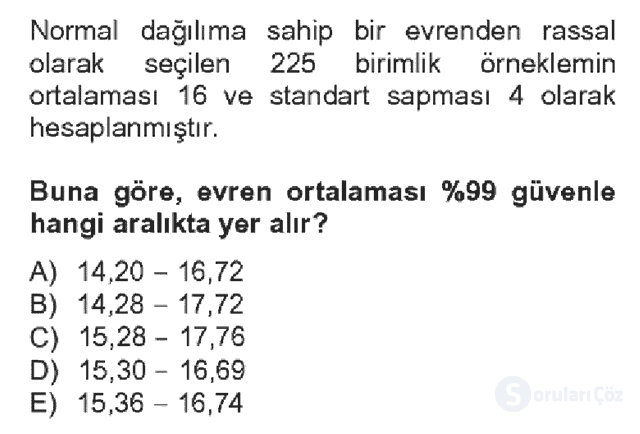 İstatistik II Bahar Dönemi Final Fİnal 3. Soru