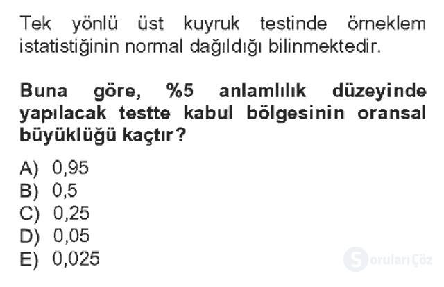 İstatistik II Bahar Dönemi Final Fİnal 4. Soru