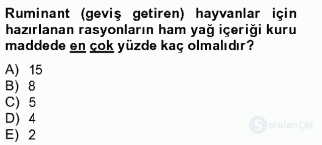 Hayvan Besleme Bahar Final 12. Soru