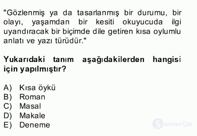 Türk Dili II Bahar Final 10. Soru
