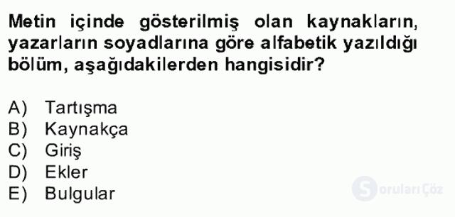 Türk Dili II Bahar Final 17. Soru