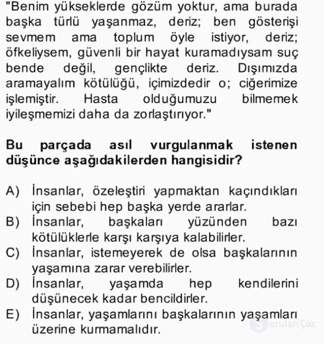 Türk Dili II Bahar Final 3. Soru