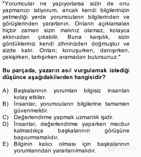 Türk Dili II Bahar Final 4. Soru