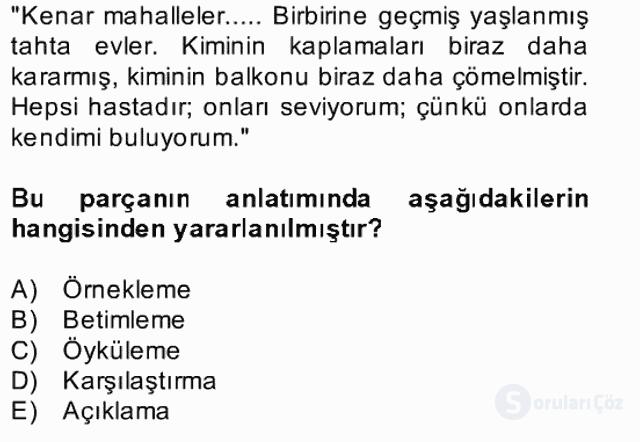 Türk Dili II Bahar Final 5. Soru